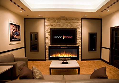 "Best wall mount electric fireplace - Moda Flame 50"" Cynergy Pebbles Stone Built-in Wall Mounted Electric Fireplace"