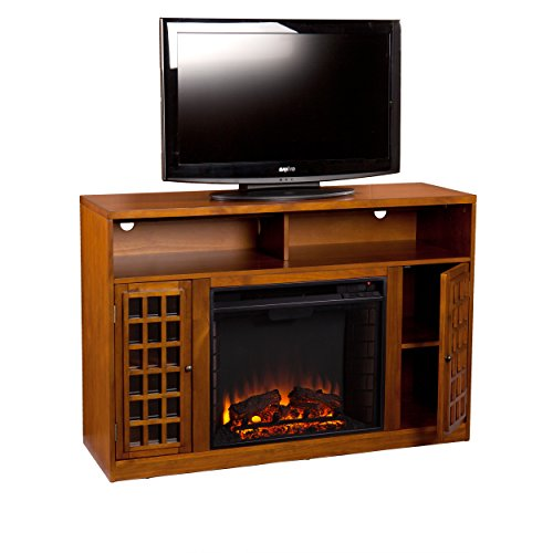 SEI Narita Media Console with Electric Fireplace, Glazed Pine Review