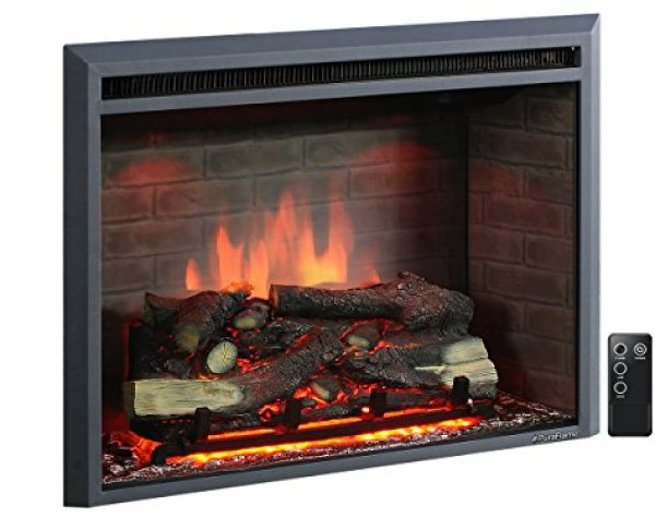 """Compare PuraFlame 33"""" Western Electric Fireplace vs. ClassicFlame 36HF320FGT Helen Wall Mounted Electric Fireplace"""