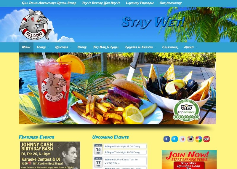 Gill Dawg Marina tiki Bar Restaurant Website Design Port Richey Florida Tourism  Firepoint Media (Custom)