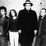 Pere Ubu 1988.  Engima Records Press Photo  (l to r) Allen Ravenstine, Tony Maimone, Chris Cutler, David Thomas, Jim Jones, Scott Krauss.