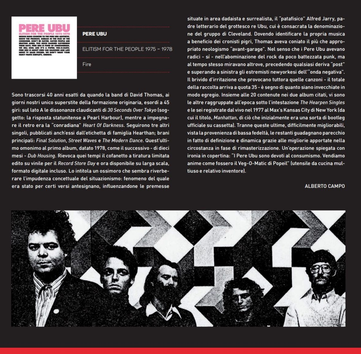 Pere Ubu Elitism For The People Review In Il Mucchio
