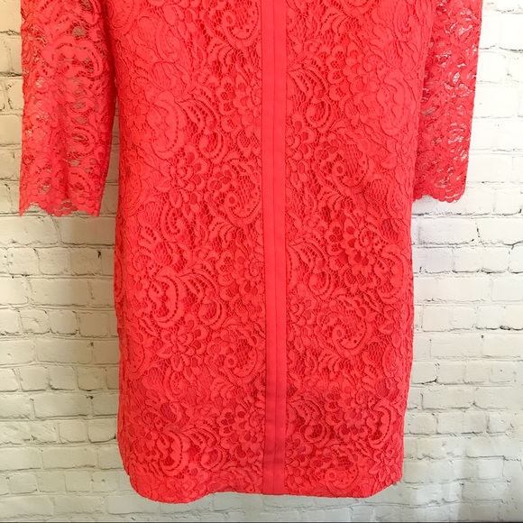 Cynthia Steffe coral lace shift Dress size 6