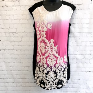 Yoana Baraschi pink and white sequined shift dress size XS  Hot pink, white, purple to black dip dyed front. Black back. Sleeveless. Invisible back zipper. Ivory sequins adorn the front.