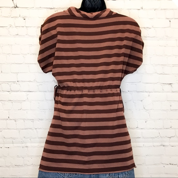 Ella Moss Short Sleeve brown striped v-neck tee size XS