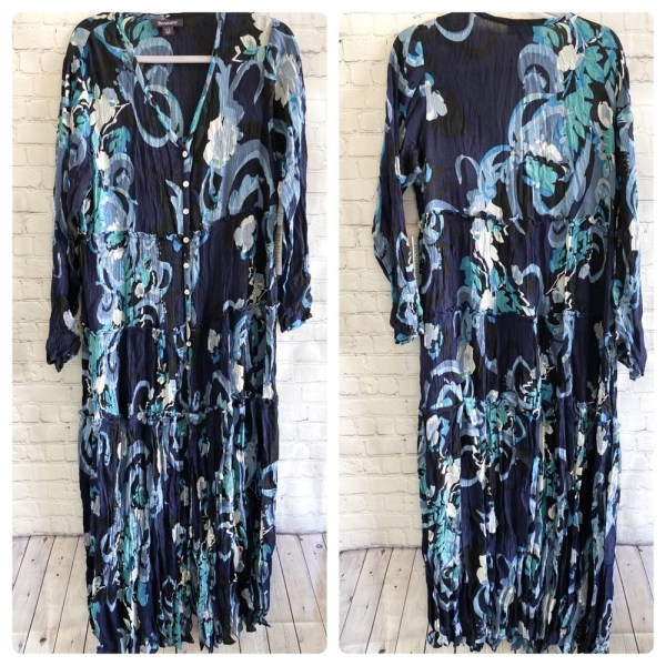 Roaman's blue floral button crinkle maxi dress plus size 14W
