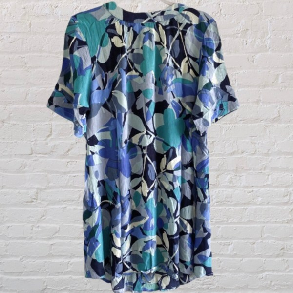Roaman's 'Angelina' blue floral button front crinkle crepe top size 12W