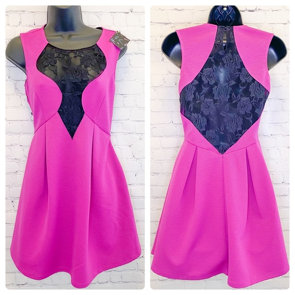 Nasty Gal Magenta pink fit & flair dress small