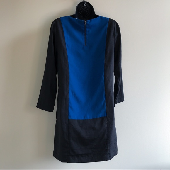 J. Crew blue & black color block long sleeve shift dress size 0