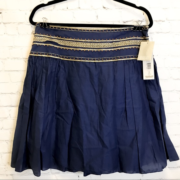 Badgley Mischka beaded embroidered peasant skirt size 8
