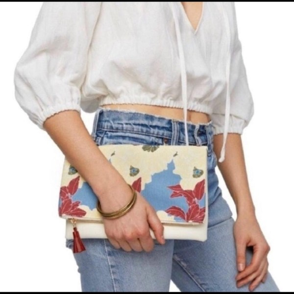 Rachel Pally Reversible Ivory red & blue floral clutch