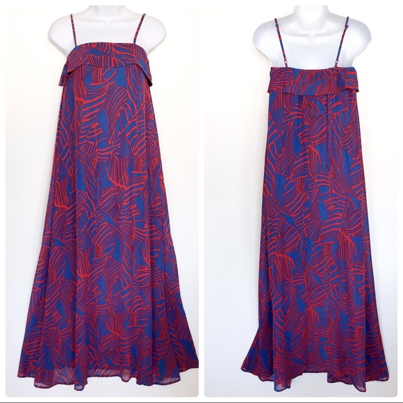 Gianni Bini red & blue flowy maxi dress size XS