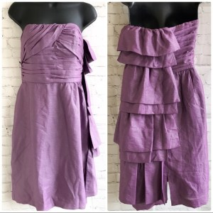 BCBGeneration purple strapless asymetric tier dress size 8