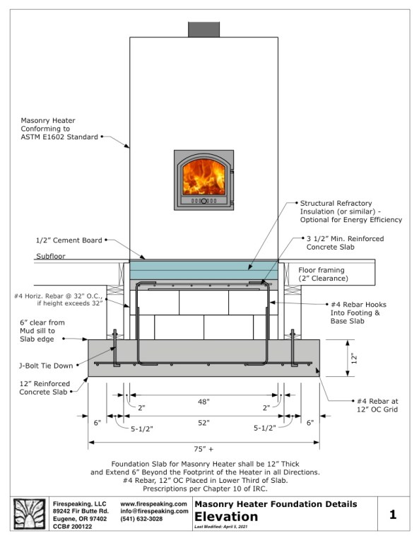 masonry heater foundation details