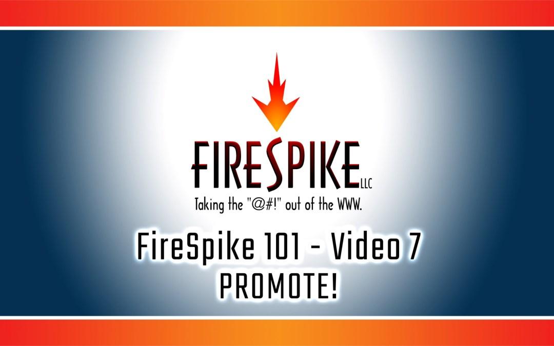 FireSpike 101, Video 7: PROMOTE!