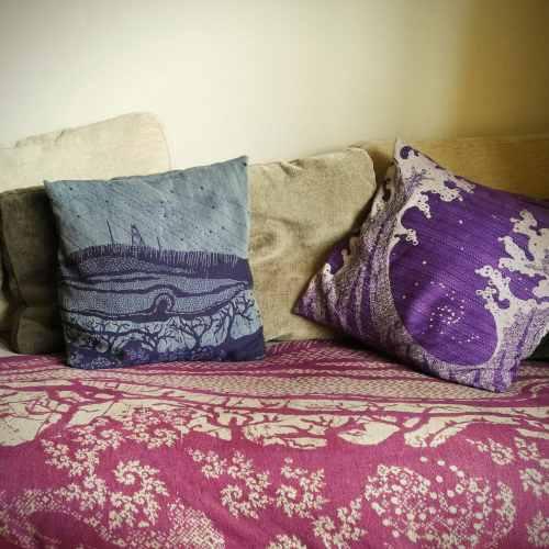 winter hill and seafoam cushions