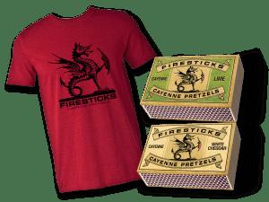 Two boxes Firestick Pretzels and a t-shirt