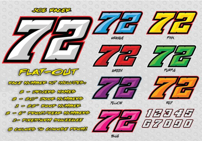 Flat Out Race Car Number Decal Kit Racing Graphics Lettering