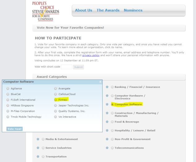 Here's how to vote for Firmex in the People's Choice Awards