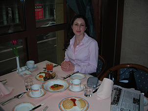 Kris Safarova breakfast before my first international client engagement meeting in Moscow.