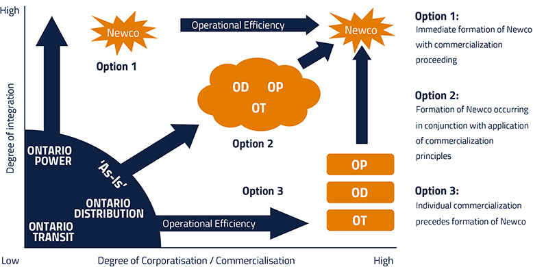 Newco Operational Efficiency. Option 1: immediate formation of Newco with commercialization proceeding. Option 2: Formation of Newco occurring in conjunction with application of commercialization principles. Option 3: Individual commercialization precedes formation od Newco.