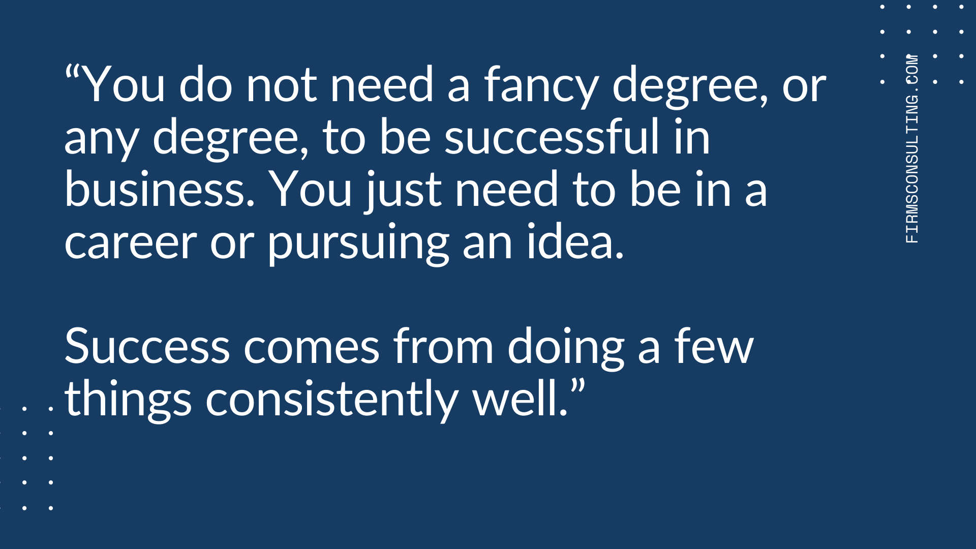 how to manage a recession. you do not need a degree
