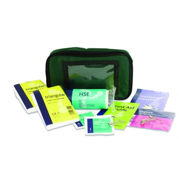 One Person First Aid Kit in Small Green Pouch