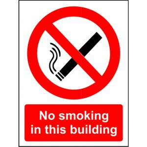 """no smoking in this building"" sign"
