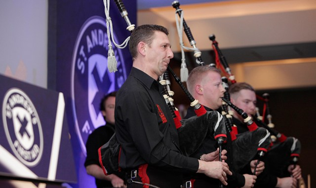 events - pipers from St Andrew's First Aid event