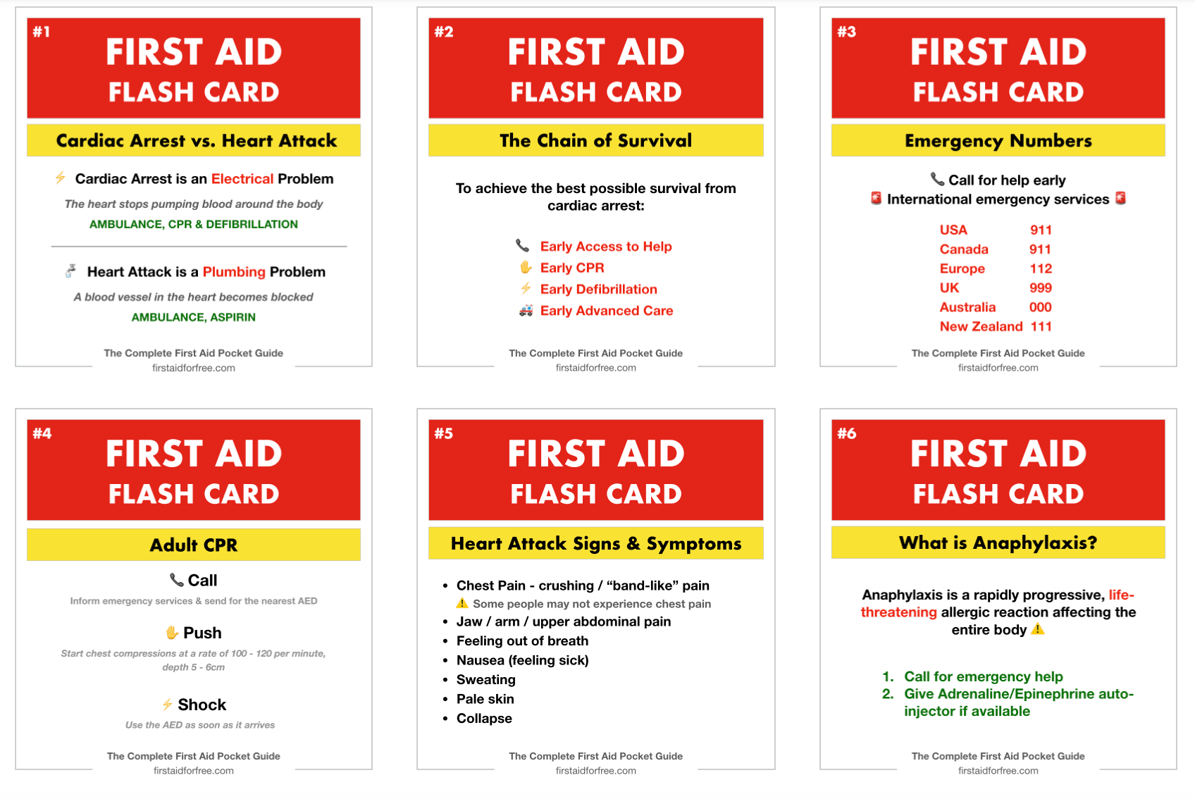 Free First Aid Flashcards First Aid For Free