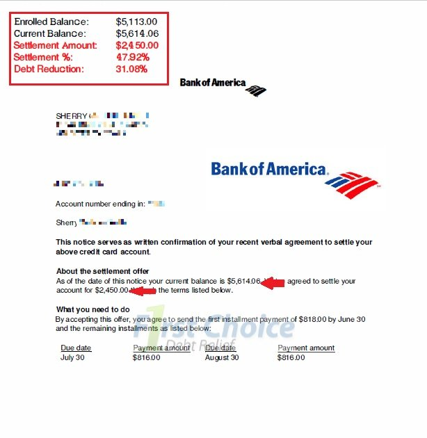 Bank of america account balance for First choice my account