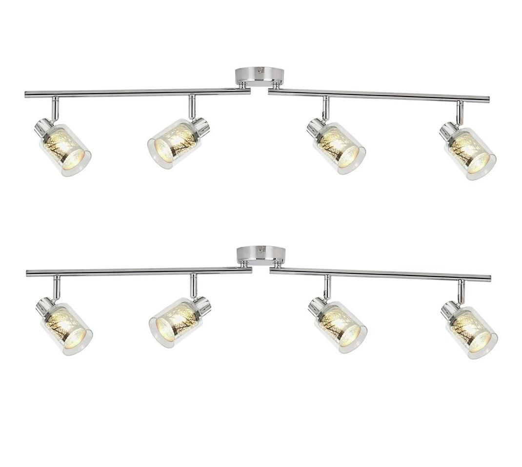 Set Of 2 X Modern Chrome Amp Glass 4 Spotlight Ceiling Bar