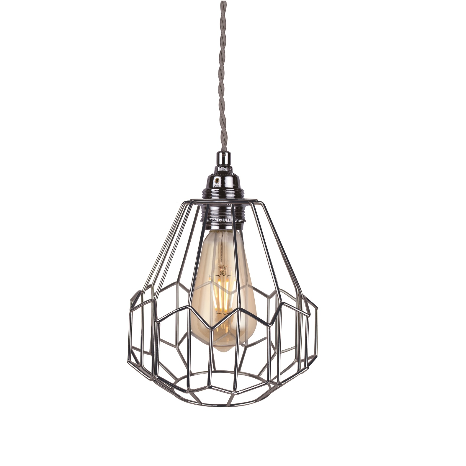 Retro Industrial Silver Chrome Metal Wire Cage Ceiling