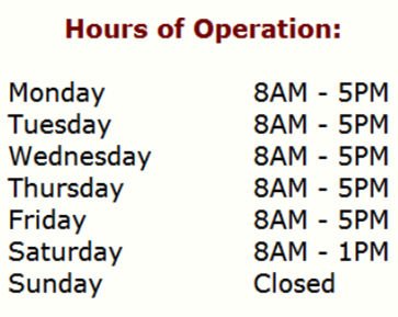 Hours First Choice Is Open 8AM-5PM Monday - Friday, 8AM-1PM Saturday, Sunday - closed