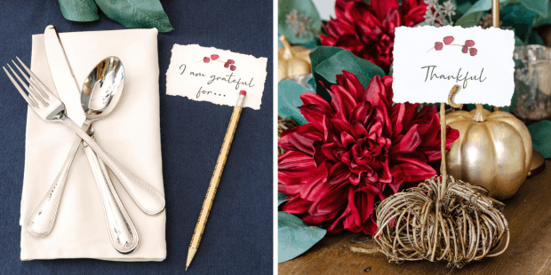 Thanksgiving tablescape with printable place cards, woven pumpkin place card holders and red and gold floral accents