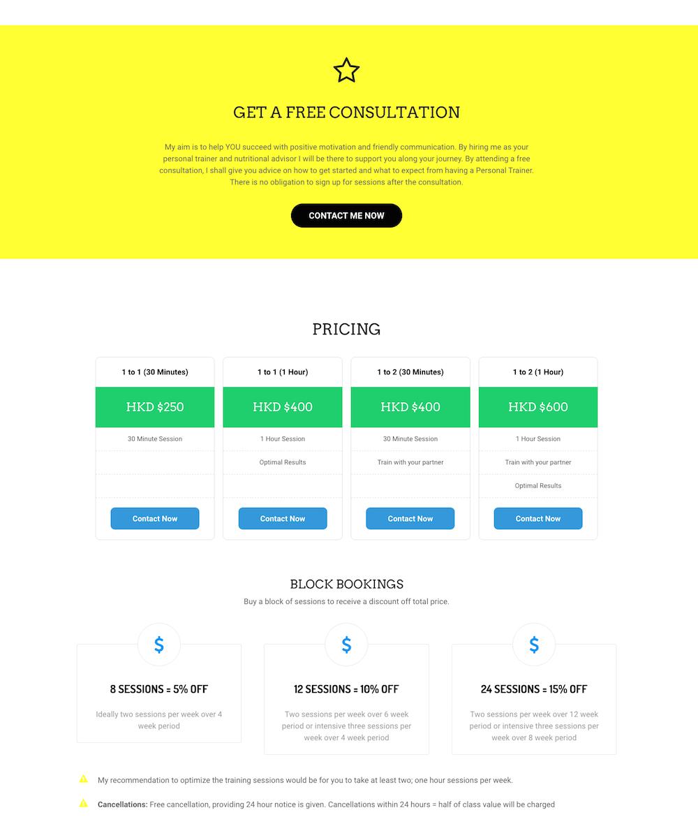 MAD Training + Nutrition Pricing Screenshot - First Days Digital Portfolio