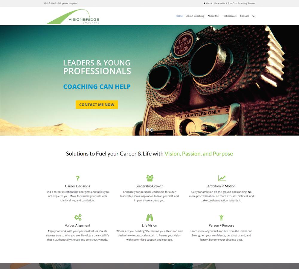 Visionbridge Coaching Homepage Screenshot - First Days Digital Portfolio