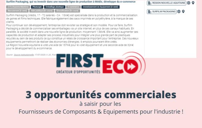 3 opportunités commerciales - composants pour l'industrie