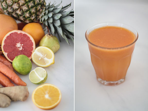 Pineapple, ginger, citrus, carrots & turmeric.