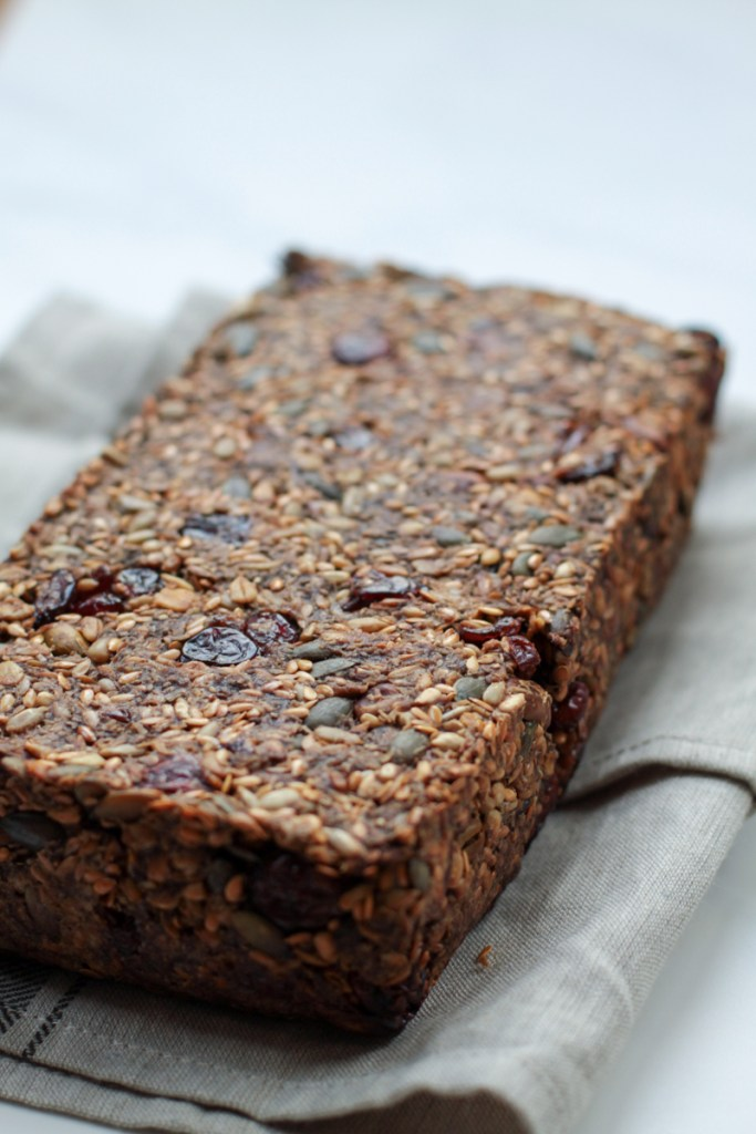 Baked Gluten free seed loaf with cranberries and pistachios