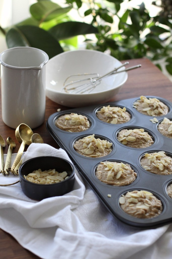 `````````gluten free sugar free breakfast banana and almond muffins. Made with almond flour and buckwheat flour.