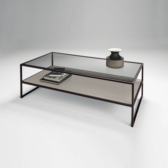 chelsom tribeca black glass rectangular coffee table with shelf