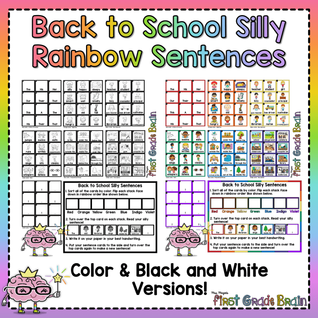 Back to School Silly Rainbow Sentences