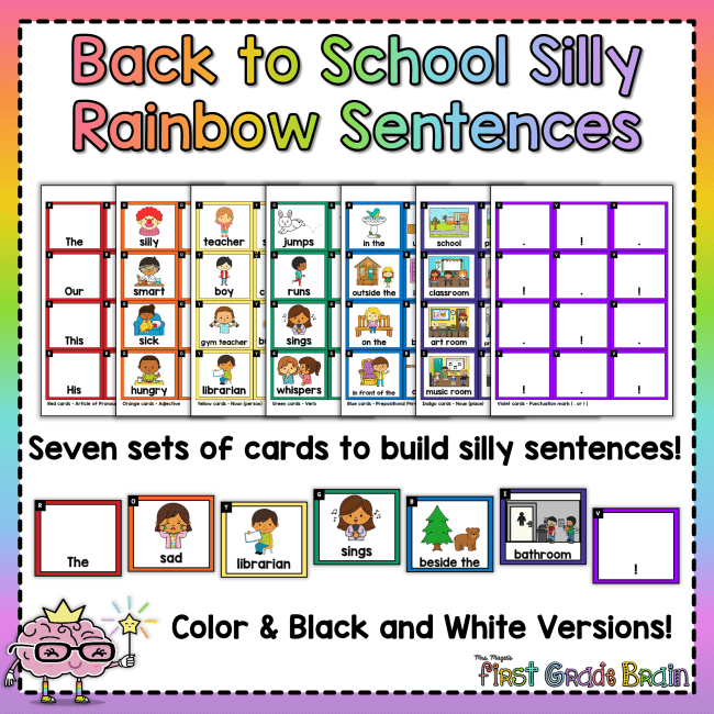 Back to School Rainbow Silly Sentences
