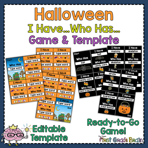 Halloween I Have Who Has Game and Template