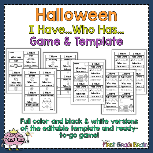 I Have Who Has Template | Halloween I Have Who Has Ready To Go Game Editable Template