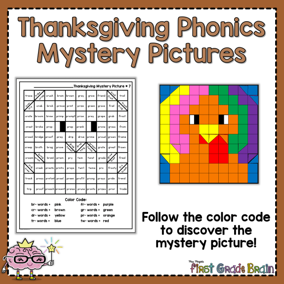 Thanksgiving Phonics Mystery Pictures