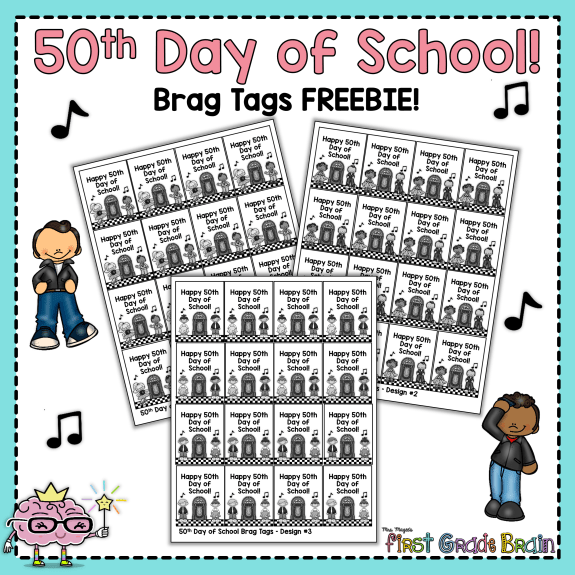 50th day of school free brag tags