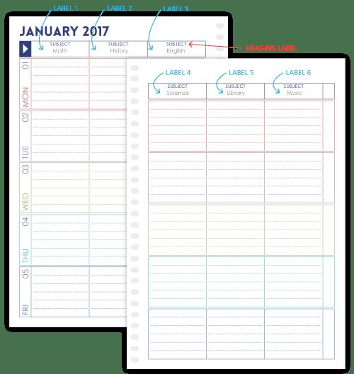 Purple Trail Teacher Planner - heading options