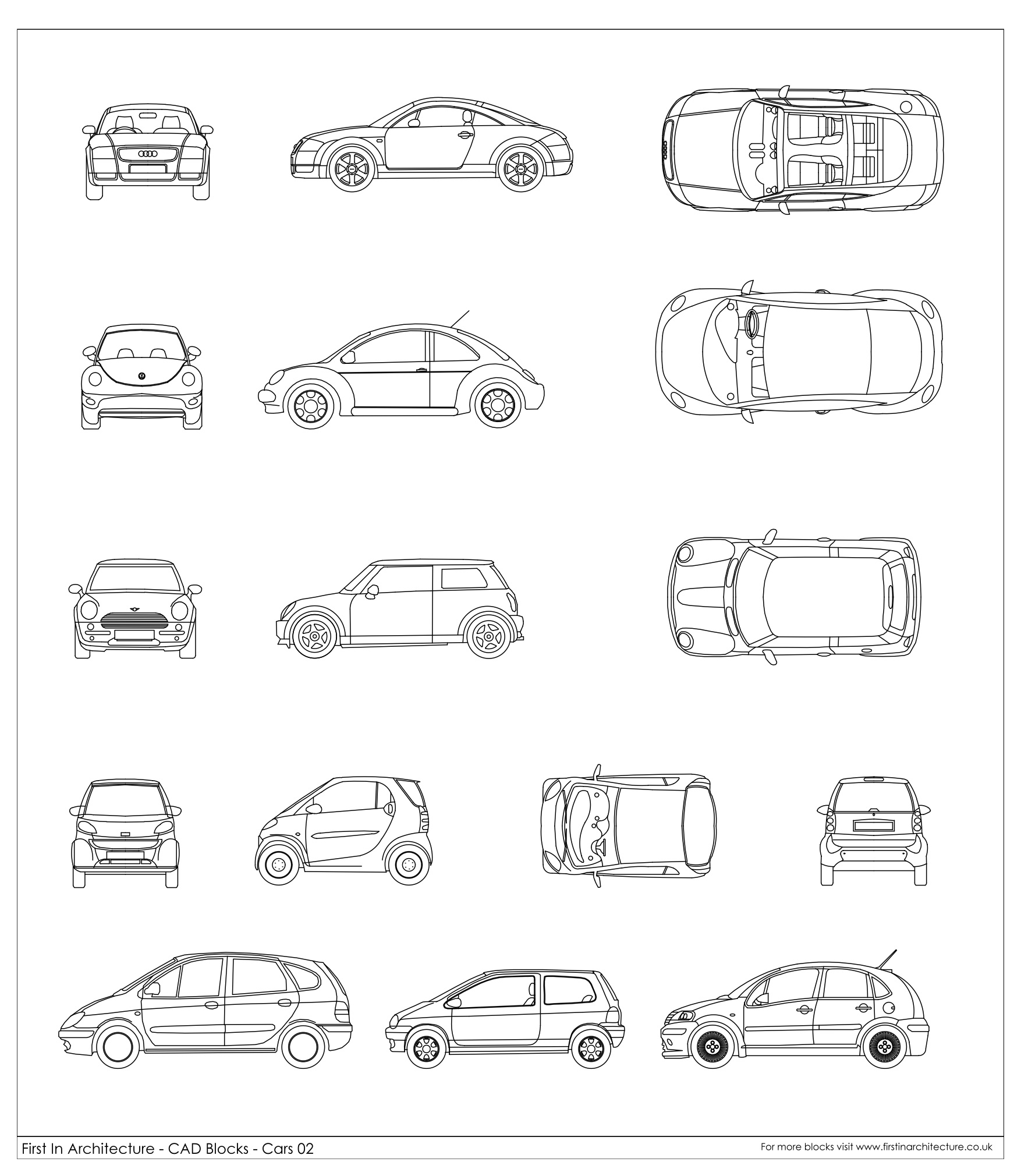 Cad blocks cars 02 for Free architectural drawing program